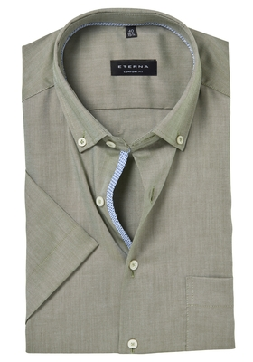 ETERNA Comfort Fit korte mouw, groen lightweight (contrast)