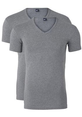 Alan Red stretch T-shirts Oklahoma (2-pack), V-hals, grijs gemêleerd