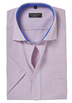 ETERNA Comfort Fit, korte mouw, rood-wit-blauw geruit (contrast)