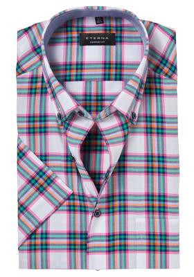 ETERNA Comfort Fit, korte mouw, roze-blauw geruit (contrast)