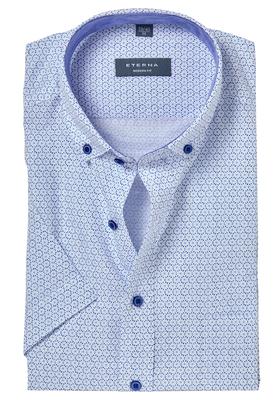 ETERNA Modern Fit overhemd, korte mouw, lightweight lichtblauw dessin (contrast)