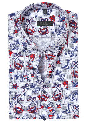 ETERNA Modern Fit overhemd, korte mouw, nautische print