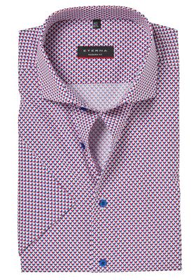 ETERNA Modern Fit overhemd, korte mouw, rood-wit-blauw dessin