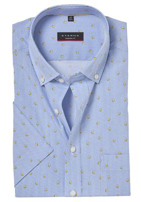 ETERNA Modern Fit overhemd, korte mouw, blauw gestreept met citroenen