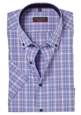 ETERNA Modern Fit overhemd, korte mouw, blauw-roze geruit (contrast)