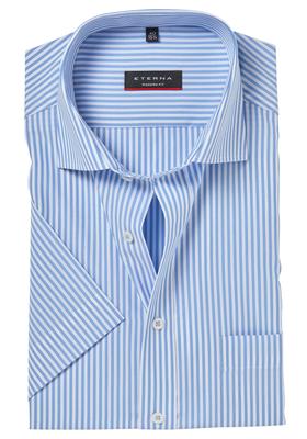 ETERNA Modern Fit overhemd, korte mouw, blauw gestreept