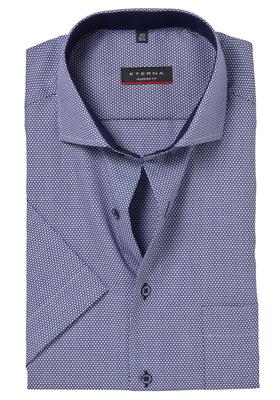 ETERNA Modern Fit overhemd, korte mouw, blauw-wit structuur (contrast)