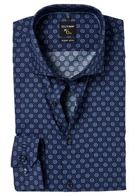 OLYMP No. 6 Six, Super Slim Fit overhemd, blauw dessin