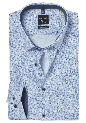 OLYMP No. 6 Six, Super Slim Fit overhemd mouwlengte 7, blauw dessin (contrast)