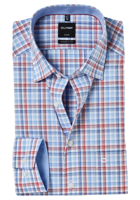 OLYMP Modern Fit overhemd, rood-blauw geruit (contrast)
