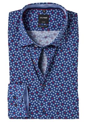 OLYMP Modern Fit overhemd, blauw dessin Roer (contrast)
