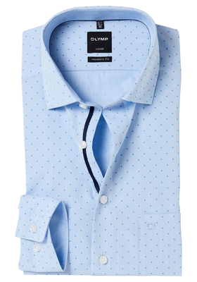 OLYMP Modern Fit overhemd, blauw gestreept met stip (contrast)