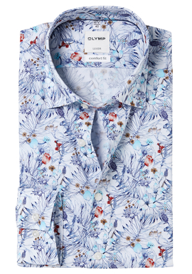 OLYMP Comfort Fit overhemd, bloem dessin