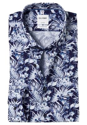 OLYMP Comfort Fit overhemd, blauw bloem dessin