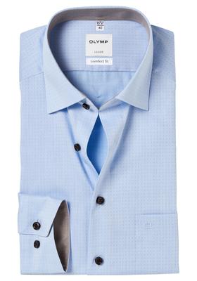 OLYMP Comfort Fit overhemd, 2-ply lichtblauw gestipt (contrast)