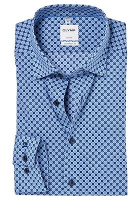 OLYMP Comfort Fit overhemd, blauw-lichtblauw dessin
