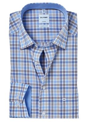 OLYMP Comfort Fit overhemd, bruin-blauw geruit (contrast)