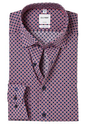 OLYMP Comfort Fit overhemd, blauw-rood dessin