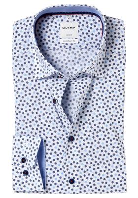 OLYMP Comfort Fit overhemd, blauw dessin Roer (contrast)