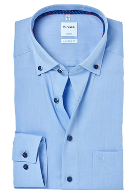 OLYMP Comfort Fit overhemd, blauw button-down (contrast)