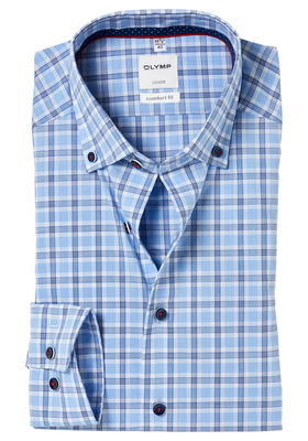 OLYMP Comfort Fit overhemd, blauw geruit button-down (contrast)