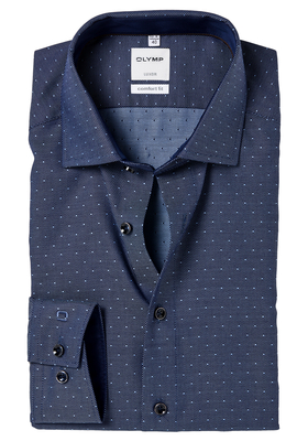 OLYMP Comfort Fit overhemd, donkerblauw structuur (contrast)