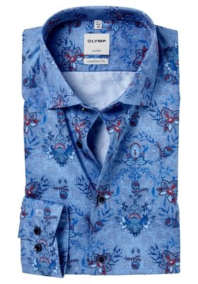 OLYMP Comfort Fit overhemd, lichtblauw-rood dessin