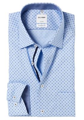 OLYMP Comfort Fit overhemd, lichtblauw structuur dessin (contrast)