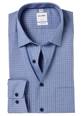 OLYMP Comfort Fit overhemd, 2-ply blauw geruit
