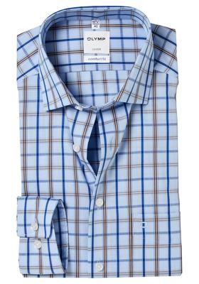OLYMP Comfort Fit overhemd, 2-ply blauw-bruin geruit