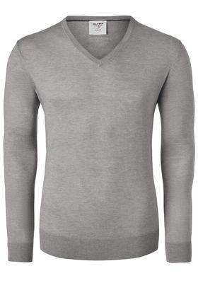 OLYMP Level 5, heren trui wol, noga bruin (Slim Fit)