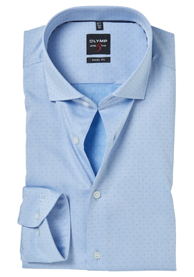 OLYMP Level 5 Body Fit overhemd, 2-ply lichtblauw ingeweven stip