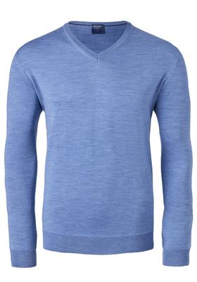 OLYMP heren trui wol, V-hals, ijsblauw