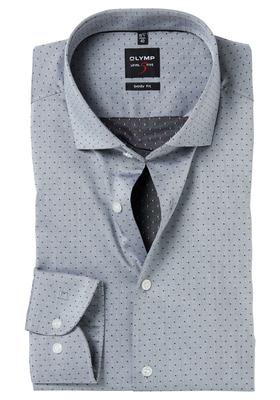 OLYMP Level 5 Body Fit overhemd, 2-ply antraciet ingeweven stip