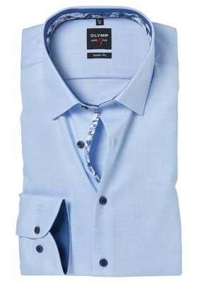 OLYMP Level 5 Body Fit overhemd, lichtblauw structuur (contrast)