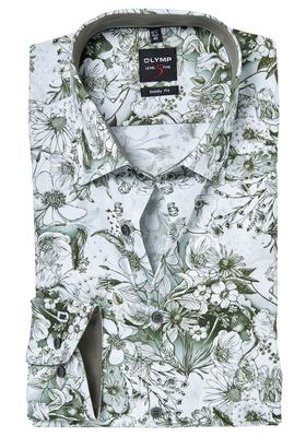 OLYMP Level 5 Body Fit overhemd, olijfgroen gebloemd (contrast)