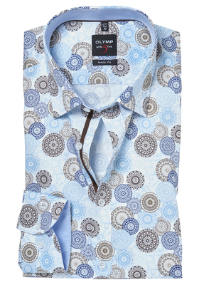 OLYMP Level 5 Body Fit overhemd, lichtblauw-bruin dessin (contrast)