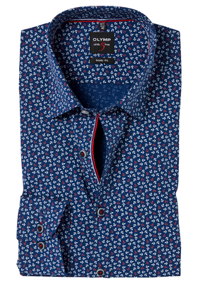 OLYMP Level 5 Body Fit overhemd, rood-wit-blauw anker dessin