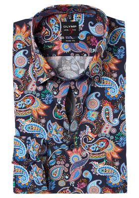 OLYMP Level 5 Body Fit overhemd, kleurrijk paisley dessin
