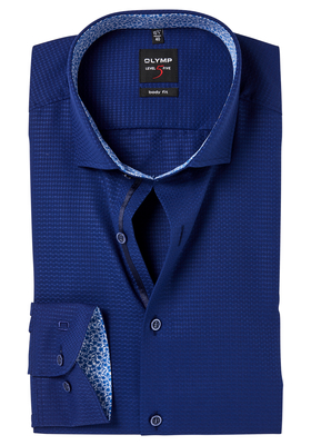 OLYMP Level 5 Body Fit mouwlengte 7, blauw structuur (contrast)