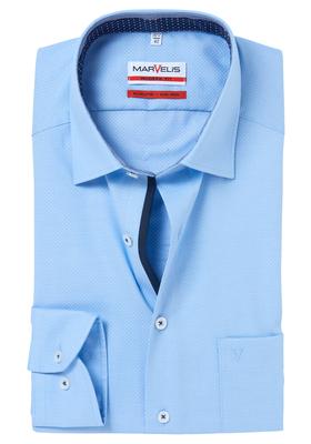 MARVELIS Modern Fit overhemd, lichtblauw structuur (contrast)