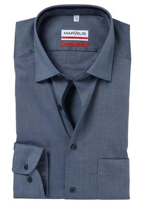 MARVELIS Modern Fit overhemd, antraciet structuur (contrast)