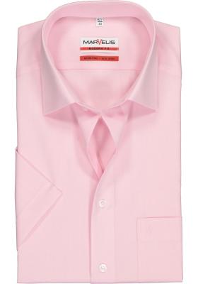 MARVELIS modern fit overhemd, korte mouw, roze
