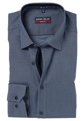 0636ab5384e MARVELIS Body Fit overhemd, zwart-grijs structuur dessin (contrast ...