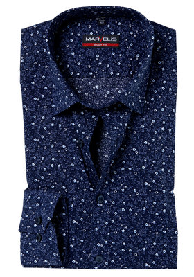 MARVELIS Body Fit overhemd, donkerblauw klein bloemetjes dessin