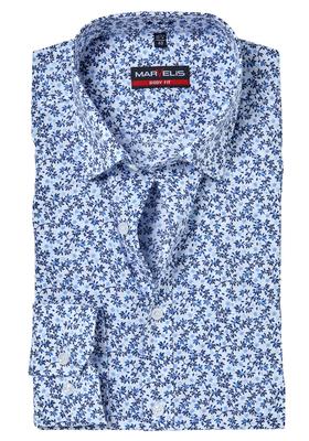 MARVELIS Body Fit overhemd, mouwlengte 7, blauw klein bloemetjes dessin