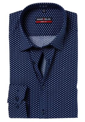 MARVELIS Body Fit overhemd, blauw-wit dessin