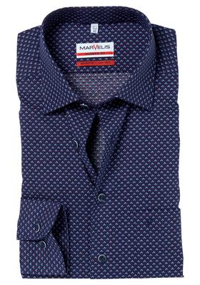 MARVELIS Modern Fit overhemd, blauw-wit-rood dessin