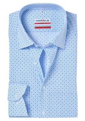 MARVELIS Modern Fit overhemd, lichtblauw-wit dessin