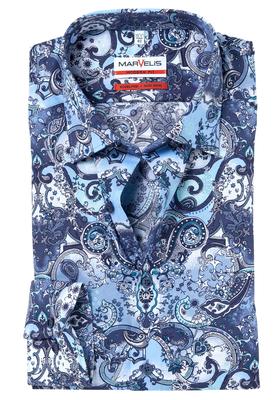 MARVELIS Modern Fit overhemd, blauw dessin